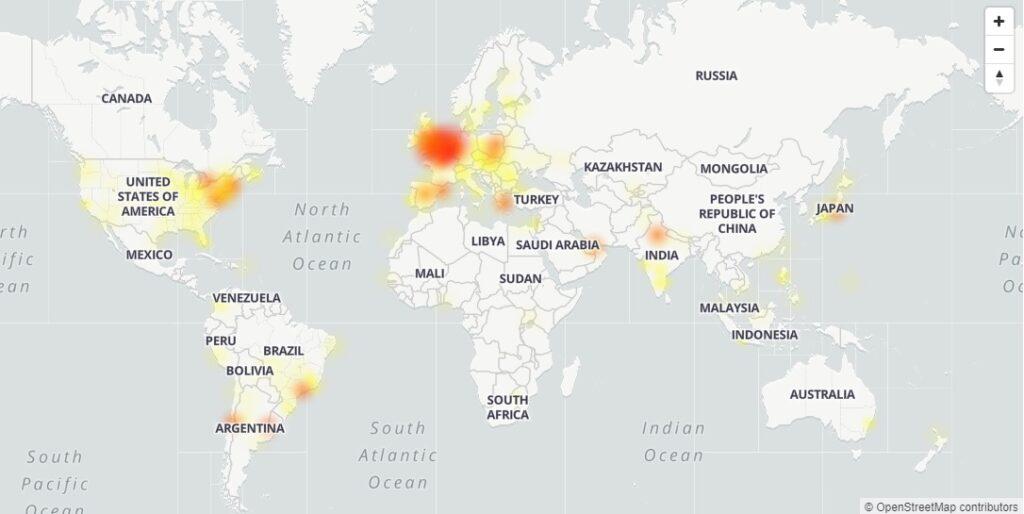 Výpadky GMailu podle serveru DownDetector