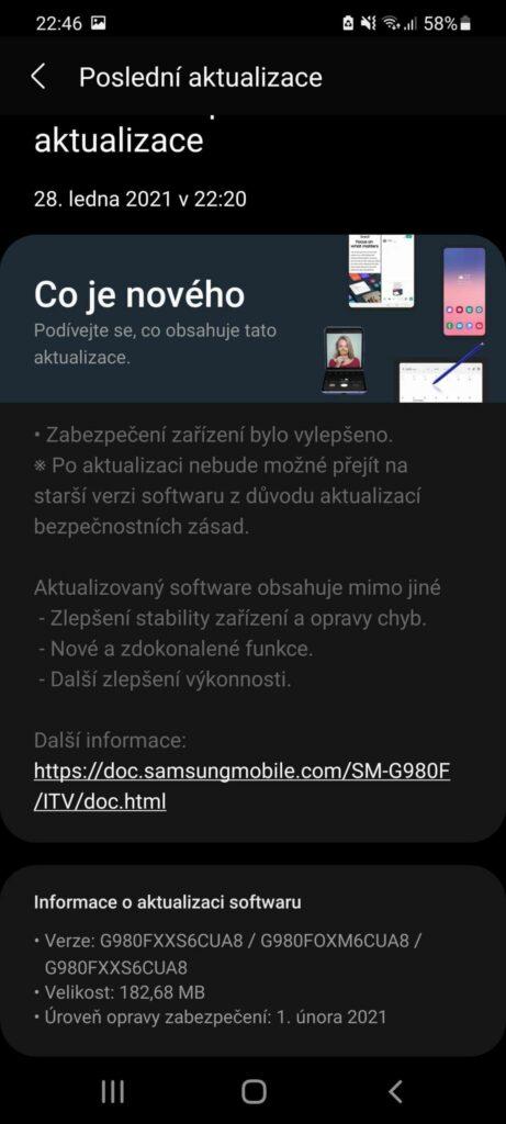 Únorový update pro Galaxy S20