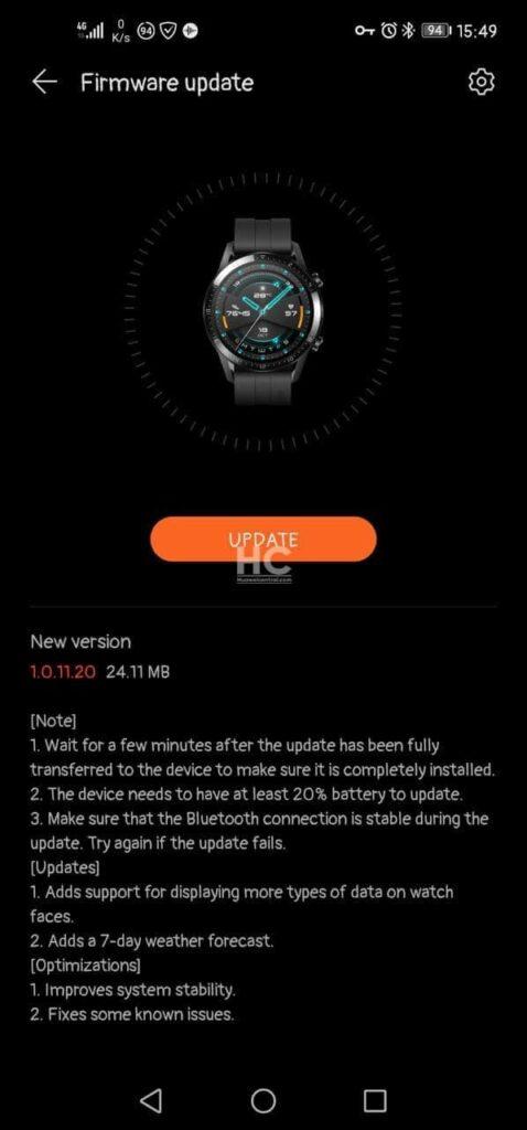 Aktualizace pro Watch GT 2