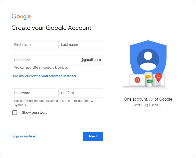 Založení Googe účtu přes webový prohlížeč