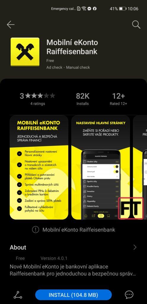 eKonto Raiffeisenbank je nyní v AppGallery