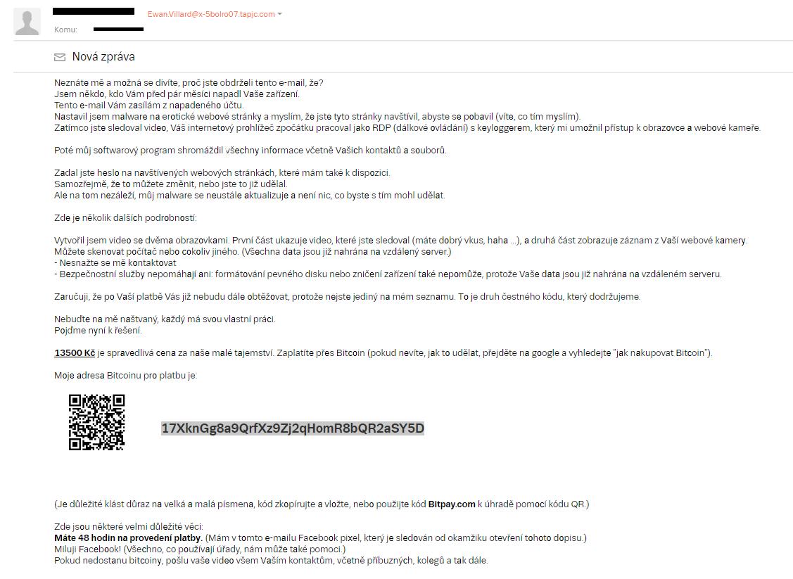 Typická ukázka vyděračského e-mailu