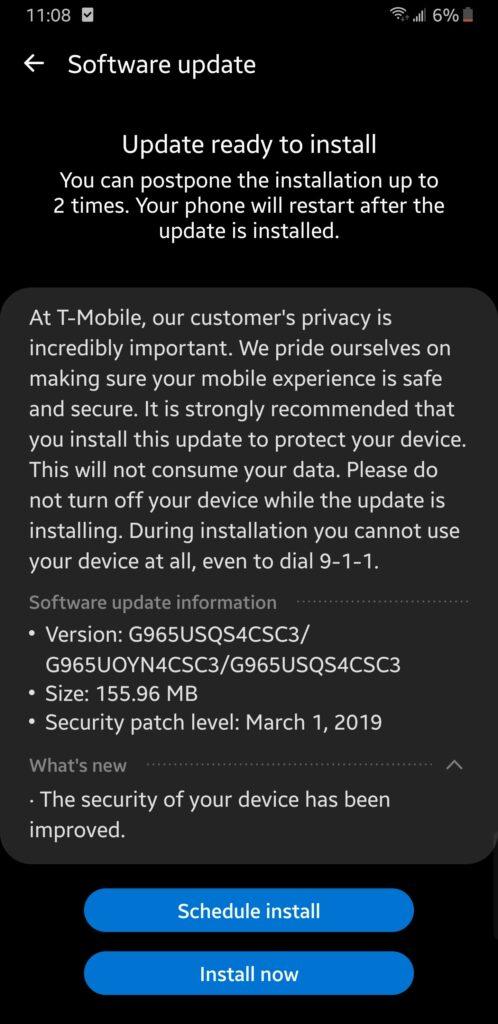 Aktualizace pro Galaxy S9