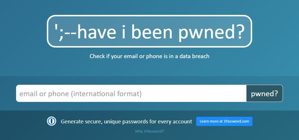 Web Have I Been Pwned
