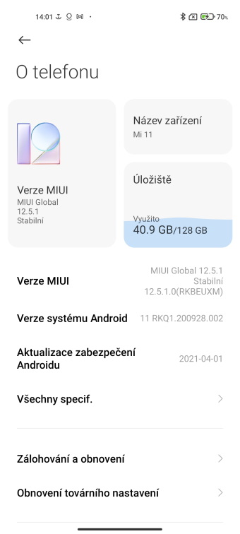 Prostředí nadstavby MIUI 12.5.1