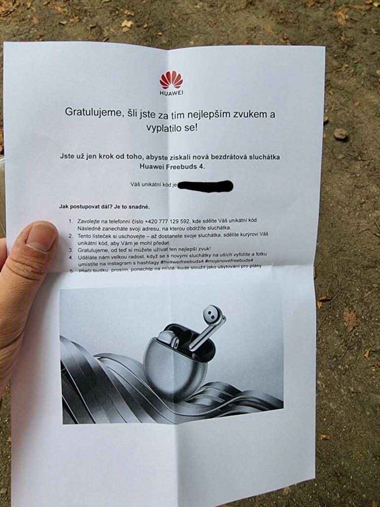 Netradiční soutěž Huawei o sluchátka FreeBuds 4