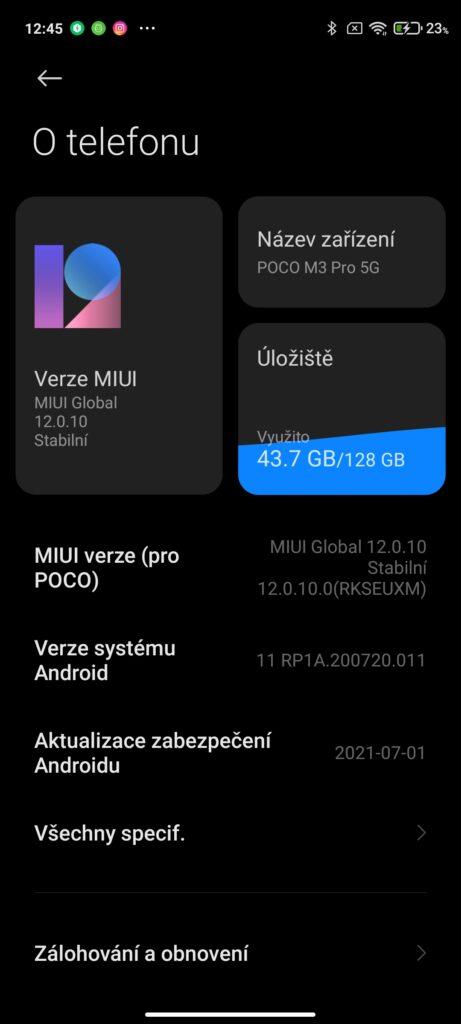 Poco M3 Pro 5G a operační systém